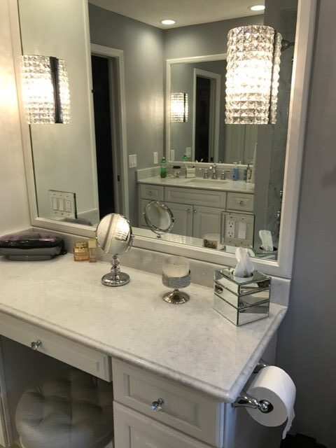 Bathroom Remodeling - White Countertops Cabinets - Willoughby Ohio - Gerome's Kitchen And Bath