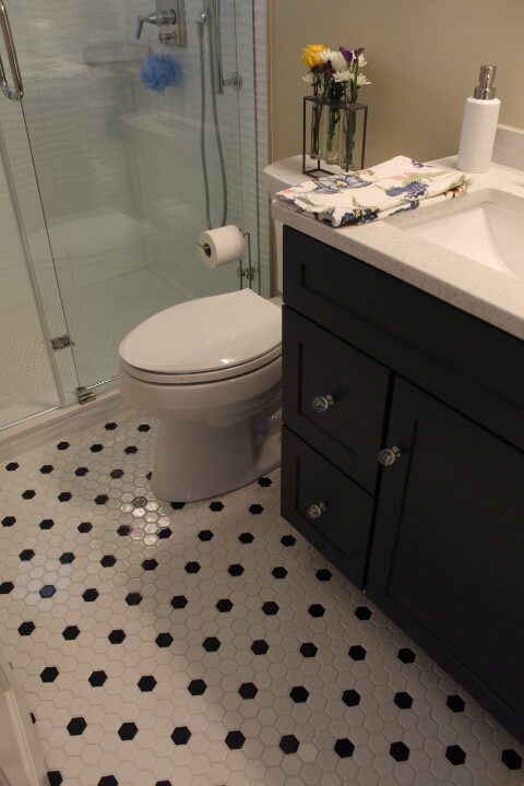 Master Tile Floor - Small Bathroom Remodel - Chesterland - Gerome's Kitchen And Bath