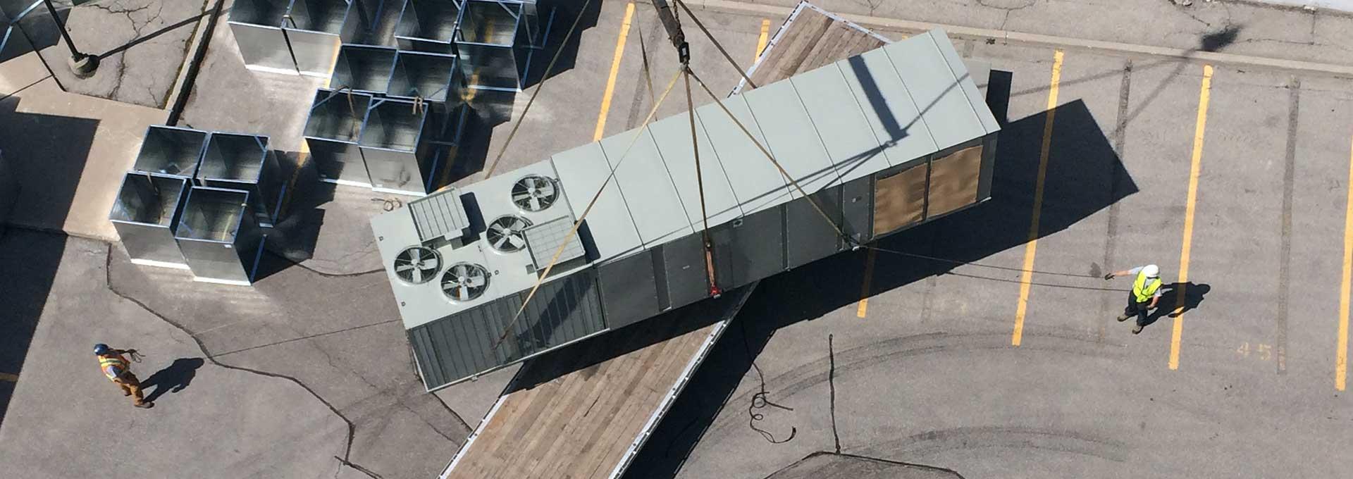 Crane Used to Lift Large HVAC Unit