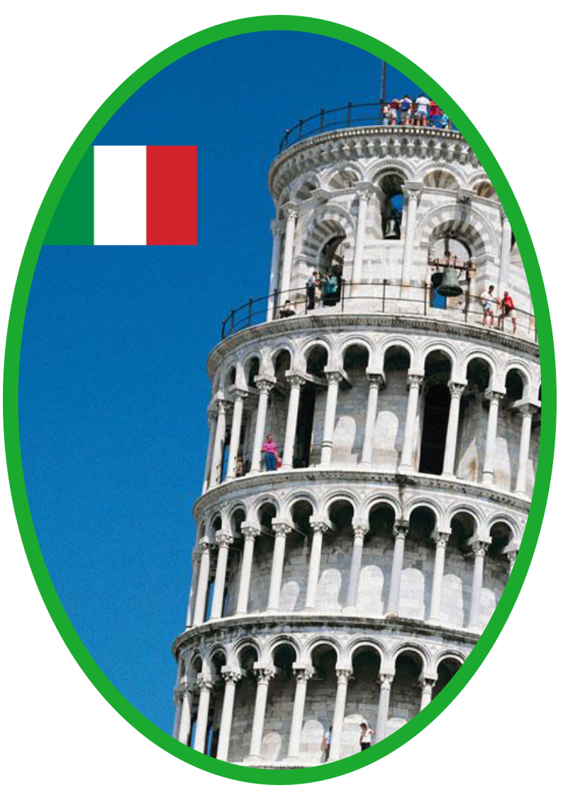 logo, image of tower of piazza and Italian flag