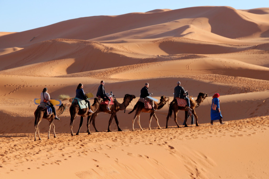 Riding deep into the Sahara.
