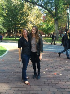 Together at college, on Locust Walk.