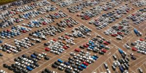 overhead eagle eye of large parking lot