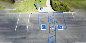 Overhead view of handicapped parking spots