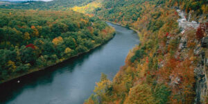overhead view of beautiful river in delaware