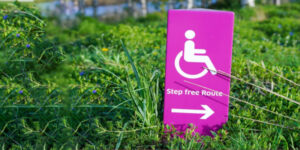 handicapped parking sign in grass
