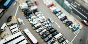 overhead view of busy parking lot