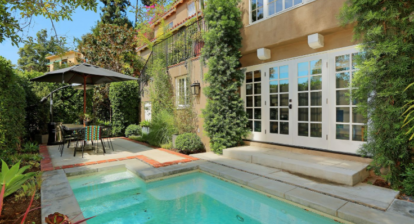 Usher has relisted his home above the Sunset Strip in Hollywood Hills West pool
