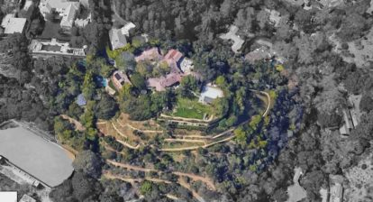 Aerial view of Adam Levine's $32M Pacific Palisades Home