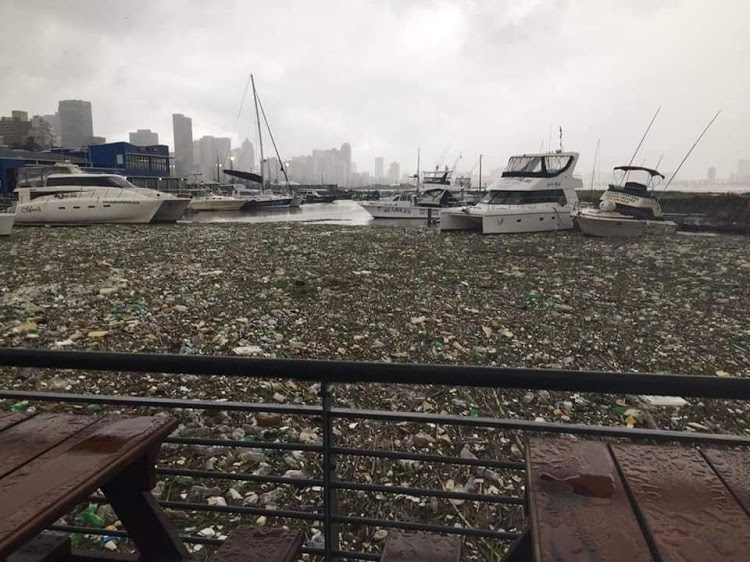 Durban harbour flooded with waste