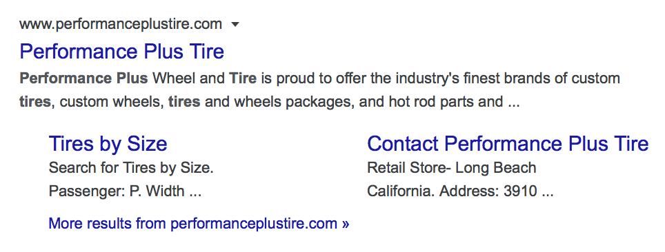 Desktop Organic Sitelinks for Performance Plus Tires