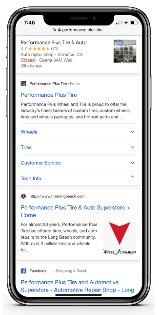 Mobile View of Organic Links from Performance Plus Tires