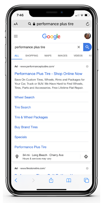 Mobile View of Paid Site Extensions for Performance Plus Tire