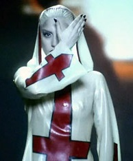 """Fashion Icon, Lady Gaga's nun-inspired outfit for her """"Alejandro"""" Music Video."""