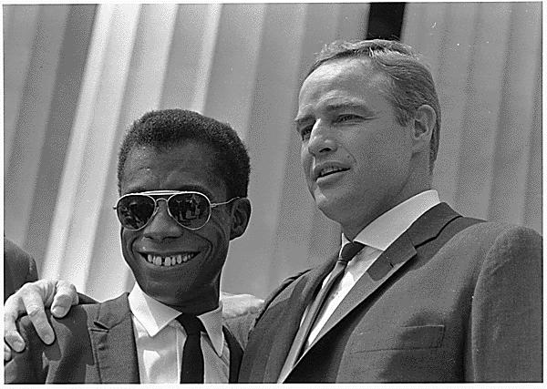 James Baldwin with Marlon Brando at the March on Washington in 1963.
