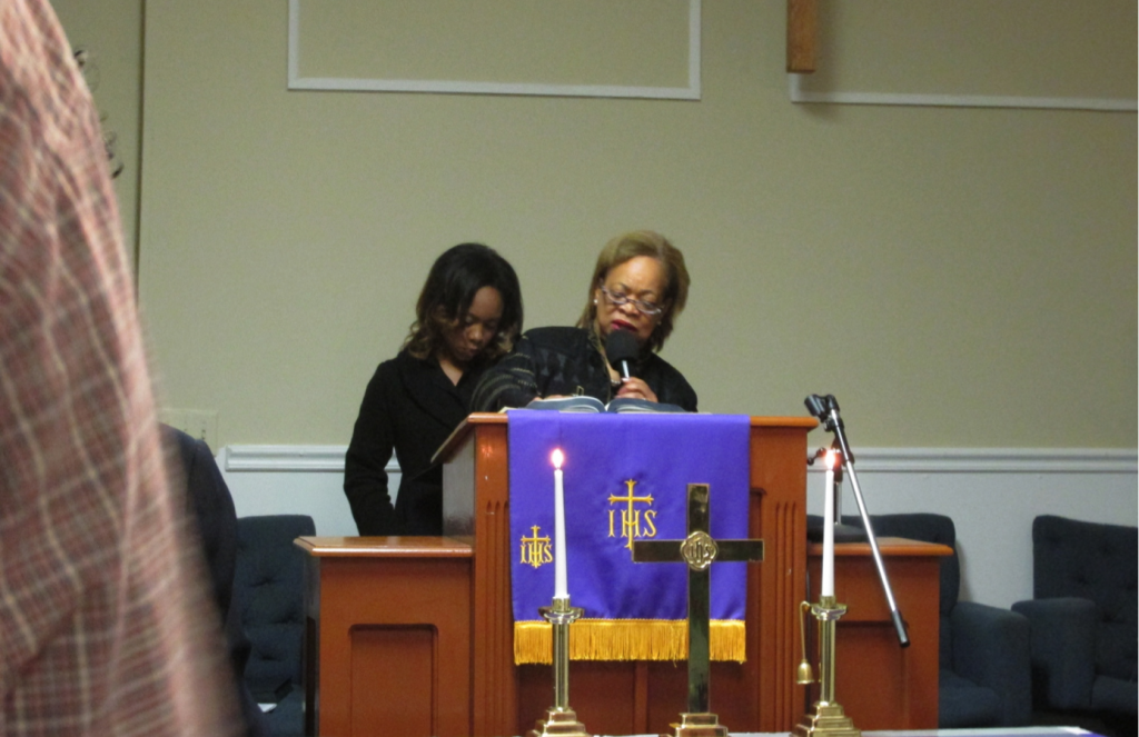 Rev. Dr. E. Gail Anderson Holness introduces her daughter and fellow minister, Ali.