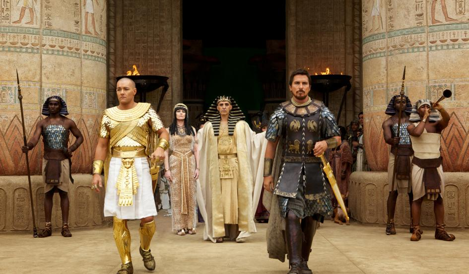 Joel Edgerton, from left, Sigourney Weaver, John Turturro and  Christian Bale portray African biblical characters.