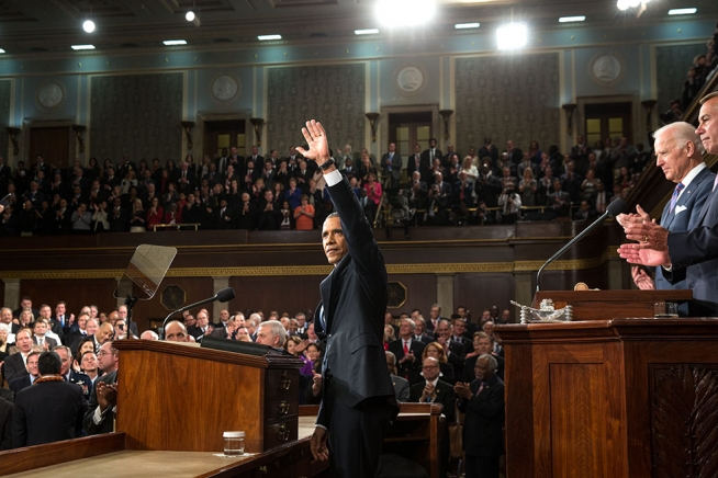 President Obama before his State of the Union address in the House Chamber at the U.S. Capitol, where he discussed his proposal for two free years of community college under America's College Promise.