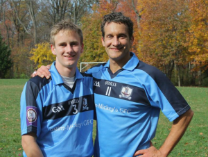 McCarthy and his son, Jack, after a Gaelic football game last fall.