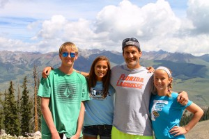 McCarthy and his children in Colorado last summer. From left: Jack, Annie, Michael and Lucy.
