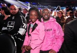 Jay Z and Blue Ivy (left) and ScHoolboy Q and daughter Joy Hanley (right) at the 59th Annual Grammy Awards on Feb. 12 in Los Angeles. Photo Credit: Christopher Polk/Getty Images
