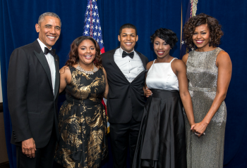 Brandi Montgomery, next to President Barack Obama, also had the opportunity to meet First Lady Michelle Obama through the White House Correspondents Association scholarship that she secured through Carol Dudley.