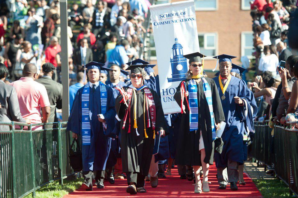 "Carol Dudley, who studied speech pathology at Howard University, leads a new group down ""The Long Walk"" toward graduation."