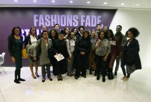 Howard University students pose with Charreah K. Jackson while visiting Essence magazine..