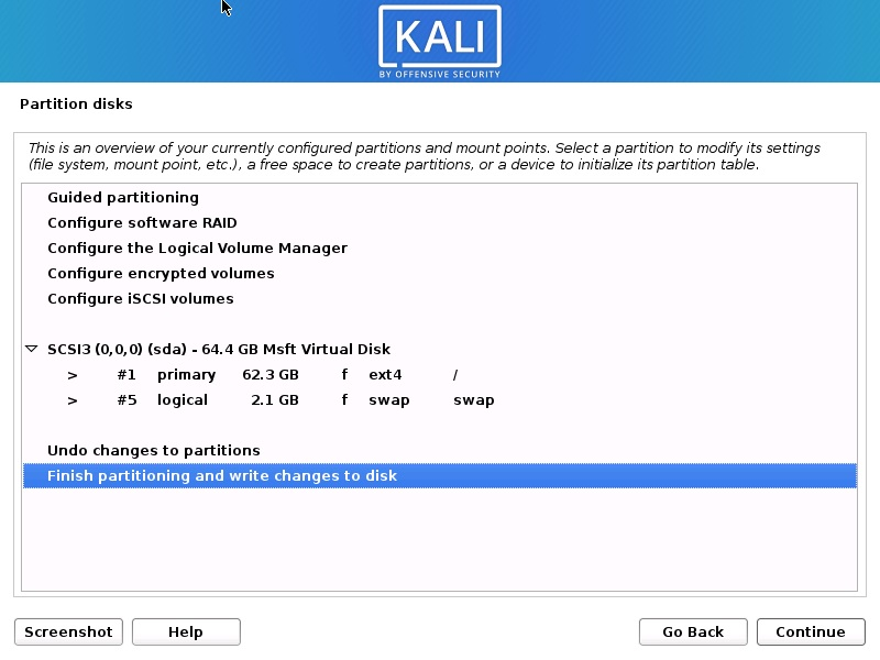 Install Kali Linux 2020 - Disk Partition Overview Screenshot