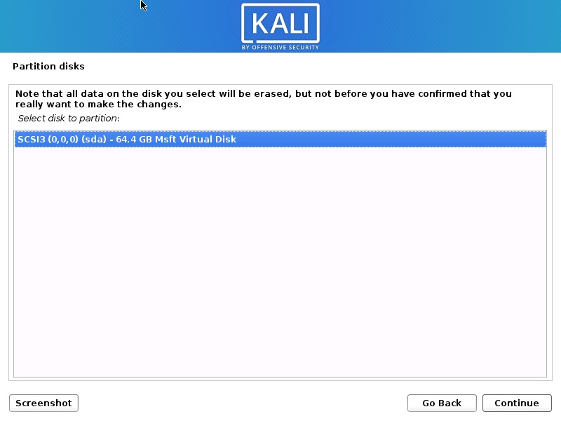 Install Kali Linux 2020 - Select Disk to Partition Screenshot
