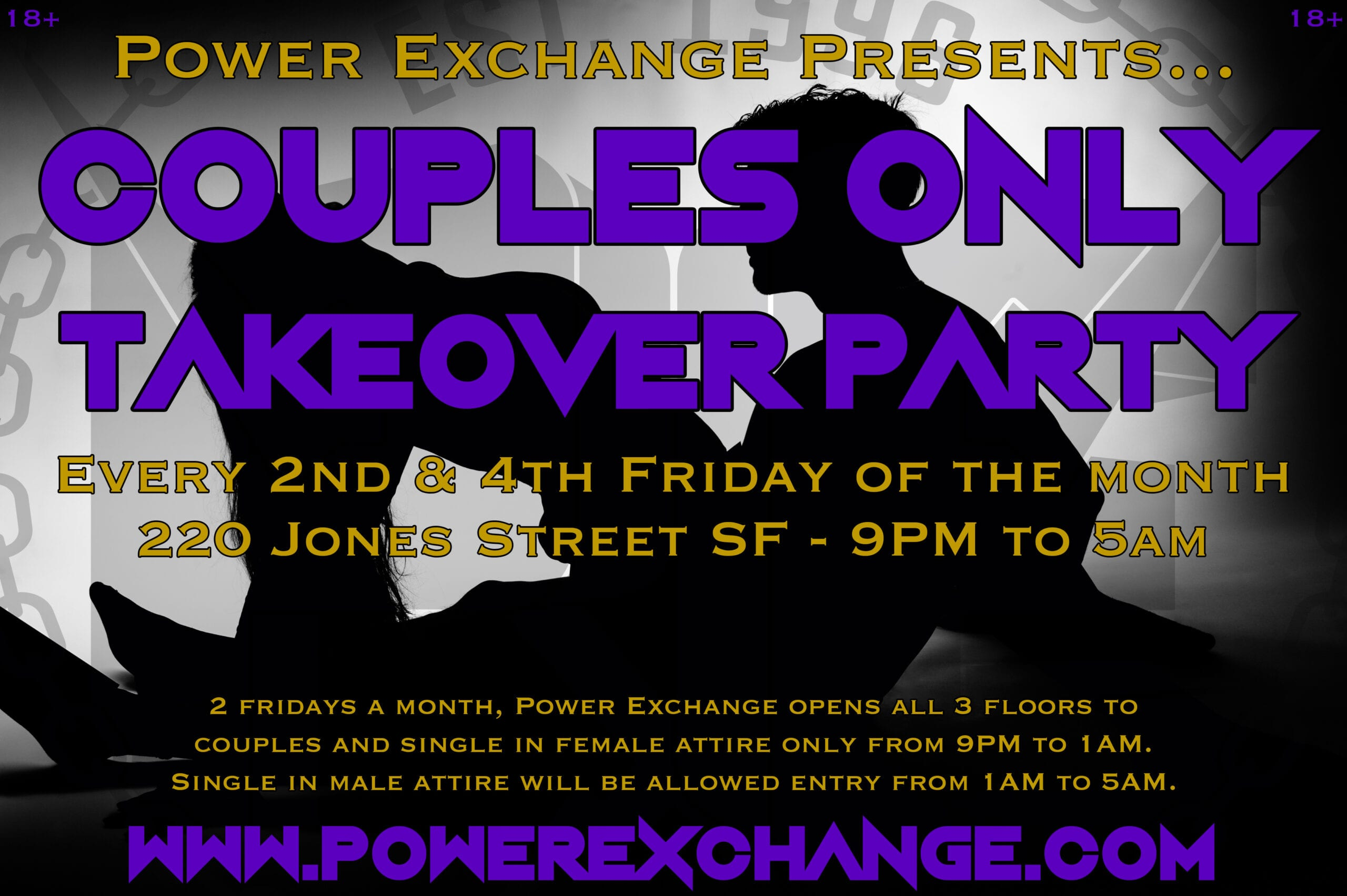 Couples Only Takeover Party is every 2nd and 4th Friday of the month!