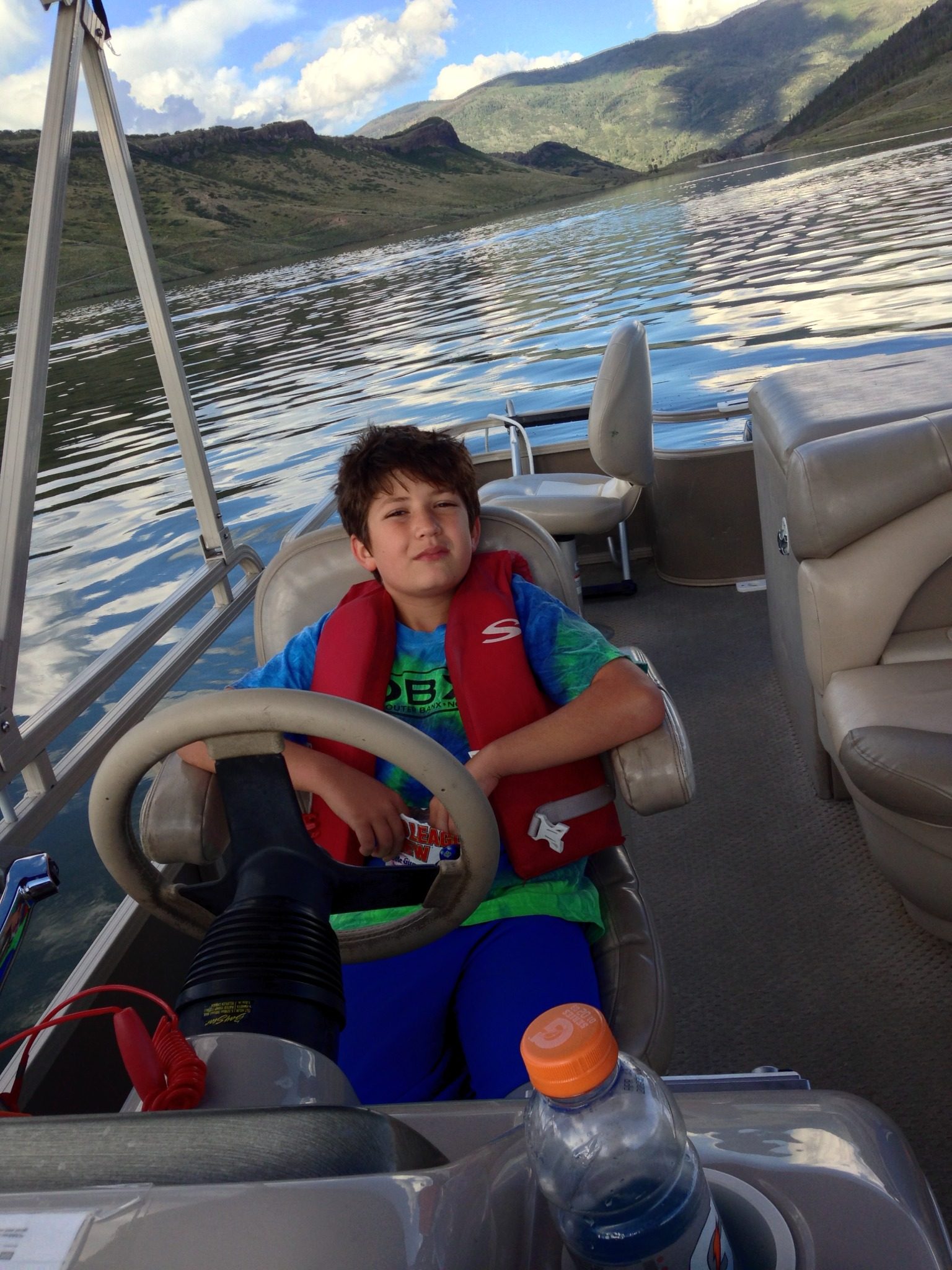 Christian chillin' at the helm