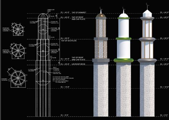 Exterior Cladding – Minarets at Jamiat-Ul-Ansar Brampton