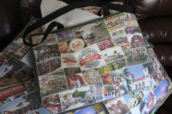 This is the backside of the Clay County Fair designer tote bag.
