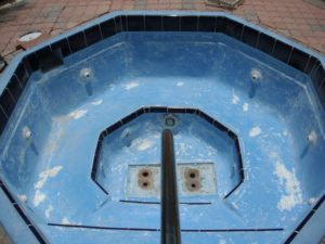 Pristine Pool Coatings the top pool coatings specialists, hot tub before work was done on it.