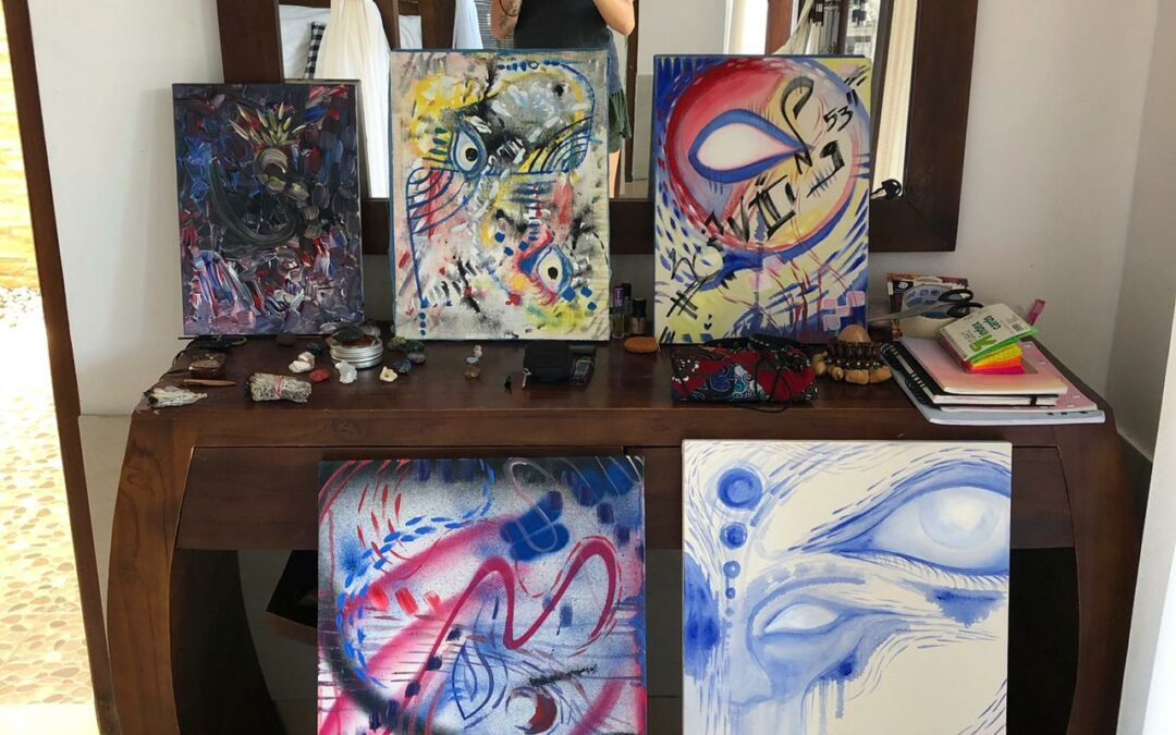 Bye Bye Bali – unfinished paintings.