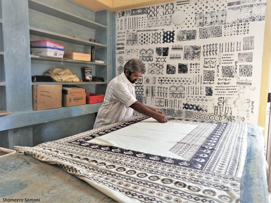 Ajrakh artisan at Ismail Khatri's workshop, Ajrakhpur Village