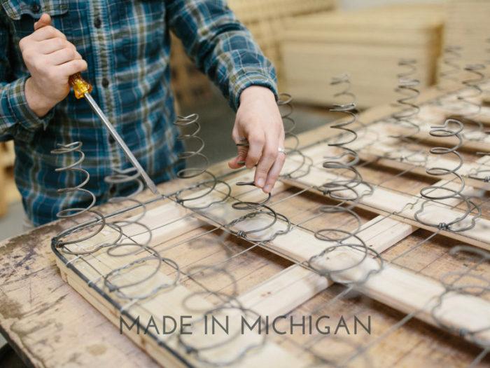 handmade box springs made at Harbor Springs Mattress Company in Michigan