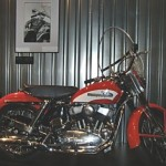 "After recording ""Heartbreak,"" Elvis Presley bought a red and white 1956 Harley-Davidson KH"