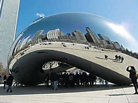 Visitors flock to Cloud Gate, also known as The Bean, in Millennium Park