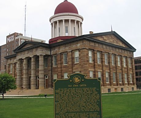 "Lincoln gave his ""house divided"" speech at Springfield's Old Capitol"