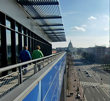 The Newseum Terrace overlooks Pennsylvania Avenue