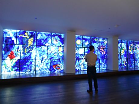 Look for Marc Chagall's windows at the east end of the Art Institute of Chicago