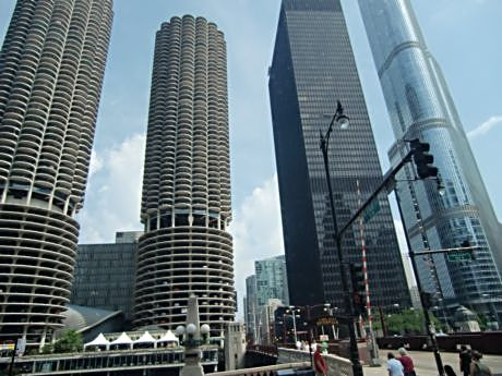 Marina City's twin towers and House of Blues sits across Mies van der Rhoe's former IBM building that houses The Langham Hotel. Trump's hotel and tower is across from The Langham.