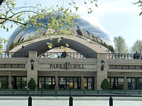 The Park Grill in Millennium Park is a rink-side seat to ice skating in winter and strollers in the park the other seasons.