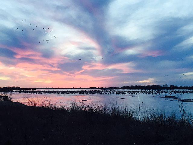 Sun setting over the Platte
