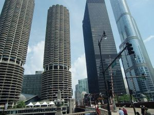 The Marina Twin Towers on the Chicago River are on architecture boat tours and the Chicago Film Tour. Photo by Jodie Jacobs