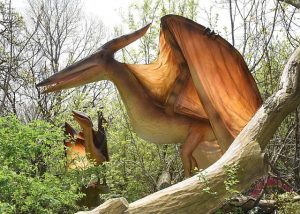 A couple of Pteranodons guard a Brookfield Zoo nature trail where dinosaurs and dragons lurk. Brookfield Zoo photo