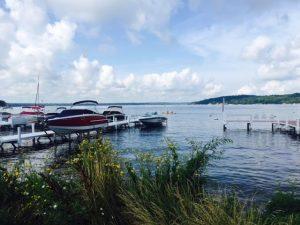Boats pull up at piers around Geneva Lake.