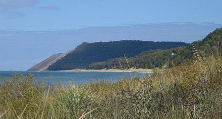 Sleeing Bear Dunes National Lake shore bluffs are 400 feet above Lake Michigan. (J Jacobs photo